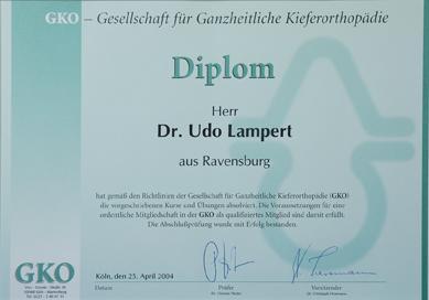 Zertifikat Dr. Lampert für ganzheitliche Kieferorthopädie